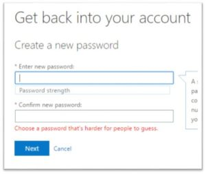 password dialogue